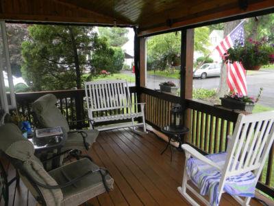 Family enjoying screen porch