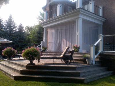 White porch curtains