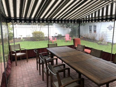 Clear plastic enclosures for awnings